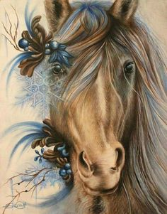 By: Sheena Pike ~ ART ~ coloured pencil, PanPastels Art. Horse, Blue horse, snowflake, Horse ART This piece can be purchased on my website. Horse Drawings, Animal Drawings, Art Drawings, Painted Horses, Pike Art, Arte Fashion, Horse Artwork, Equine Art, Horse Pictures