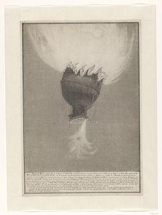 Anoniem; De rampzalige hemelvaart van Pilâtre de Rosier en Romain, 1785.  Ets en aquatint. Collectie Rijksmuseum, Amsterdam, aankoop uit het F.G. Wallerfonds in 2012
