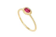 From Lagos' Covet collection is this 18-karat yellow gold ruby stacking ring. It retails for $495.