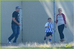 Britney Spears and her boyfriend David Locado attend her boys Sean Preston and Jayden James soccer game with Kevin Federline on November 9, 2013