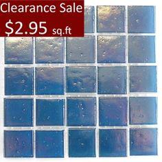 "Art Studio 9/16"""" x 9/16"" Blue Pastel Glass Mosaic Clearance Sale - $2.95 sq.ft"