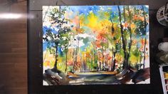 "Large Format 22""x30"" Fallscape watercolor painting & more"