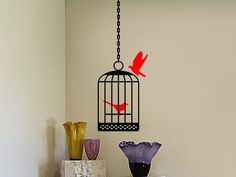 Bird Cage Decals  Bird Cage 2 Birds and Hanging by vgwalldecals, $15.00