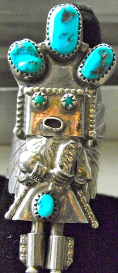 Navajo Indian Sterling Silver Turquoise Kachina Ring Signed by Delores Small canyon