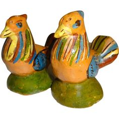Signed Mexico Red Clay Pottery Birds Salt and Pepper Shakers - Signed Mexico Red Clay Pottery Birds Salt and Pepper Shakers
