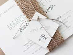 Burlap ribbon teams so well with the natural twine.