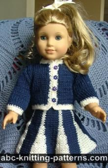 4518ceaa58269 ABC Knitting Patterns - American Girl Doll Vintage Outfit (Cardigan and  Skirt) . Knitted