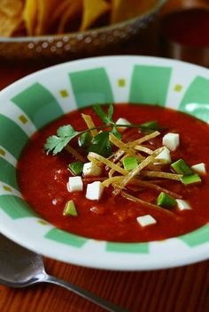 Tortilla Soup with Red Tomato Salsa. A new take on a classic dish with avocado and panela. #delicious