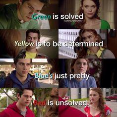 Verde em solução O amarelo deve ser determinado O azul é bonito Vermelho não está resolvido