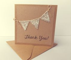 Your place to buy and sell all things handmade - Thank You Cards, Rustic wedding, Kraft card with lace bunting thank you cards - Cute Cards, Diy Cards, Your Cards, Handmade Thank You Cards, Hand Made Greeting Cards, Lace Bunting, Wedding Bunting, Get Well Cards, Watercolor Cards