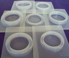 Resin jewelry and crafts. Create your own resin bangle bracelets with this reusable plastic molds. Seven different styles.