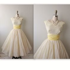 50s Prom Dress // Vintage 1950's Flocked Lemon Ivory Chiffon Party