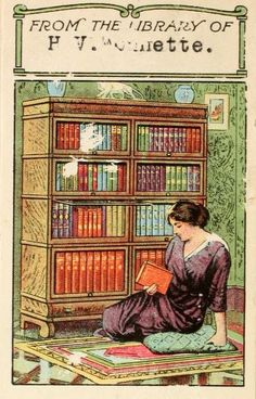 vintage colour bookplate depicts woman sitting on rug choosing book from crowded bookshelves, early 20th century