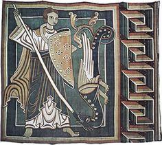 Foto: Szczegóły dotyczące St. Michael zabiciu smoka jest od Abrahama i Archanioła Michała, duży mid-12th wieku gobelin z Dolnej Saksonii, który jest teraz w katedrze Halberstadt w Niemczech.  Całość gobelin mierzy 1.1 o 10,26 metrów.