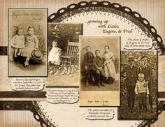 Walter Blanchard Brown, pg use of multiple photos on a single page and sets up consistent use of embellishments for two page layout. Scrapbooking Layouts Vintage, Vintage Scrapbook, Scrapbook Page Layouts, Scrapbook Paper Crafts, Digital Scrapbooking, Old Family Photos, 6 Photos, Pictures, Album Photo