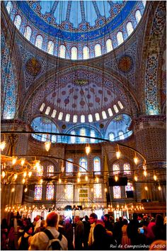 The misty ambiance of the blue mosque in Istambul