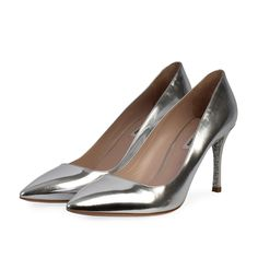 Perfect for a night out, these everyday heels will go with almost any outfit, a definite wardrobe staple! Silver Pumps, Silver Accessories, Metallic Leather, Miu Miu, Wardrobe Staples, Kitten Heels, Night, Outfit, Sexy