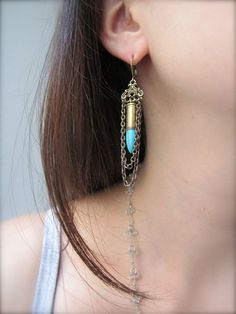 Swingy Turquoise Bullet Earrings - Handmade Bullet Jewelry with Antique Brass… Ammo Jewelry, Brass Jewelry, Leather Jewelry, Vintage Jewelry, Industrial Jewelry, Funky Jewelry, Coin Jewelry, Leather Bracelets, Gothic Jewelry