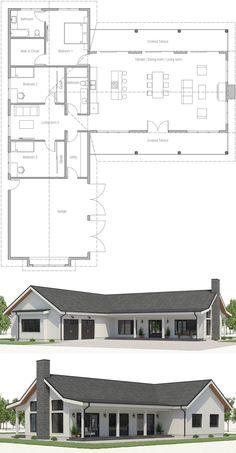 49 Ideas Home Architecture Farmhouse Metal Buildings For 2019 Bungalow Floor Plans, Modern Floor Plans, Farmhouse Floor Plans, Modern House Plans, Simple Home Plans, Barn House Plans, New House Plans, Dream House Plans, Small House Plans