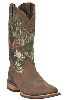 Ariat Quickdraw Men's Brown w/ Mossy Oak Camo Wide Square Toe Western Boots...... if only my boyfriend would wear these