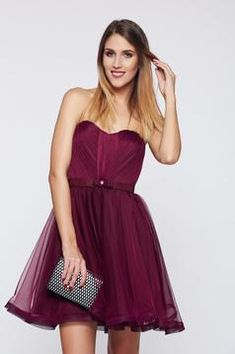 Ana Radu purple occasional corset dress with push-up cups Tulle Bows, Strapless Dress Formal, Formal Dresses, Product Label, Push Up, Corset, Purple, Interior, Outfits