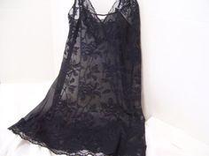 Victoria Secret Black Stretch Lace Chemise Night by cachecastle