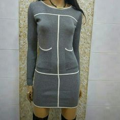 NWOT - Perfect Sexy Sweater Dress Just arrived!! - This is a very sexy form fitting sweater dress -  High end quality - Gray color -  Ribbed with white accent - Two side pockets - Size Small (other sizes also available)  -  Perfect with a pair boots or heels - can be worn as a mini sweater dress or shirt pair with tights Additional Sizes Available  Dresses Long Sleeve