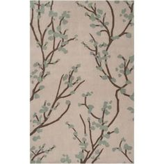 Surya HDP2001-3353 Hudson Park 3' x 5' Rectangle Synthetic Hand Tufted Floral Ar - gray