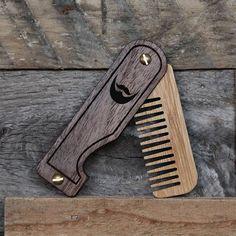 Wood Beard Comb Personalized Engraved Folding Pocket Custom