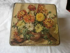 VINTAGE/ANTIQUE F.E. FOX & SON LTD. (FOXES) BISCUIT TIN WITH DRAWING OF FACTORY