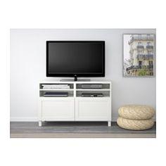 BESTÅ TV bench with doors - Hanviken white - IKEA