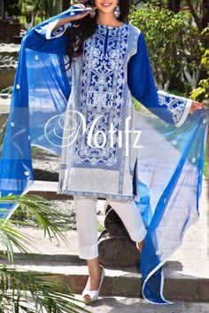 Buy Blue Embroidered Cotton Lawn Dress by Motifz Lawn Collection Vol.II 2015.