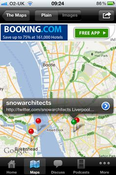 The Pin is Green to indicate that SNOW have an Architect map mini app