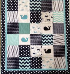This Baby Whales quilt is Lovesewnseams signature quilt. It was designed from my love of whales and the ocean. The 100% Cotten quilting fabrics in