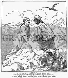 IMMIGRATION CARTOON, 1879.  American cartoon comment at the height of the Black Exodus to the North and West, suggesting that Chinese immigrants in the West go East and Black migrants from the South go West to enjoy greater economic success and relief from racial persecution.