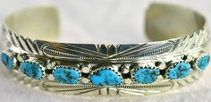 NAVAJO STERLING SILVER LADIES CUFF W/TURQUOISE NUGETTS BY JUDY SLINKY