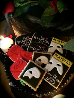 Decorated cookies at a Phantom Of The Opera cocktail party!  See more party planning ideas at CatchMyParty.com!