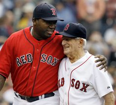 David Ortize, Big Papi, with Johnny Pesky. It's so clear how much the Red Sox players loved Pesky, as did all of Red Sox Nation.