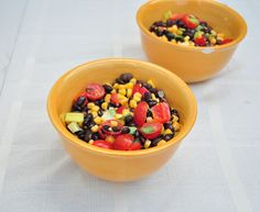 Black Bean and Corn Salad.  Easy recipe that is good hot or cold.  Great for those trying to eat healthier this new year.  Vegan and gluten free