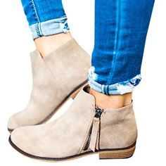 c1553b1a5e84 Amazon.com: Boots for Women Ankle Winter Low Heel Western Side Zipper  Pointed Toe Solid Color: Clothing