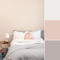 Soft pinks are another favorite to use when it comes to creating a relaxing mood in the bedroom. Paired with a few simple neutrals, this pretty color is the perfect way to add a soft touch of soothing femininity to a bedroom.