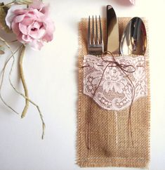 Burlap Flatware holders for weddings Wedding Table by accessory8, $16.50 I like these better