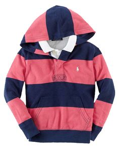 NWT Ralph Lauren Polo Boys Rugby Stripe Mesh Long Sleeves Pullover Hoodie Sze 3T #RalphLauren #Everyday