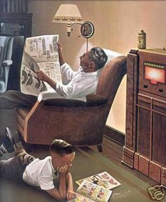 The Radio Days when only Dick Tracy had a cellphone (on his wrist) in about the year 1930 BC (Before Cable) Achie General Electric, Tvs, People Reading, Nostalgia, Radio Antigua, Retro Radios, Old Time Radio, Antique Radio, Norman Rockwell