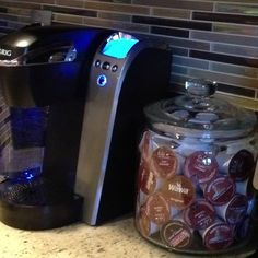 Cheap K-cup holder. Cookie jar from Ikea. Holds about 48 k-cup. Cost is under $15!!!