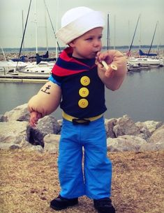 Lil' Popeye the Sailor Man Baby Costume - Halloween Costume Contest via… Cute Baby Halloween Costumes, Halloween Carnival, Halloween Costume Contest, Toddler Costumes, Toddler Halloween, Cute Costumes, Carnival Costumes, Christmas Carnival, Homemade Costumes