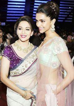 Madhuri Dixit with Deepika Padukone