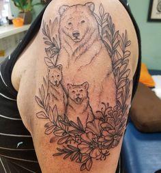 Outlined a #bear #family today! #pinecone #poppy #animal #tattoo #tattoos #tattooed #sf #bayarea #chicago #work #california #wip