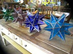 Colorful Glass Stars can easily be wired.