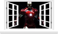Iron man 3D window decal. Kid Character, Window Decals, Iron Man, Backpacks, Handbags, Superhero, Trending Outfits, Totes, Wallets